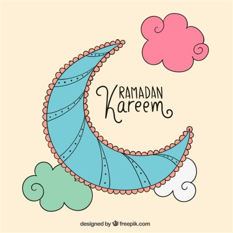colored crescent moon for ramadan kareem vector free