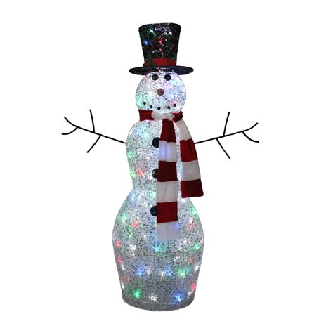 Lighted Outdoor Ornaments Multicolor Twinkling Lighted Snowman Outdoor Yard Decor Metal Light Up Outdoor