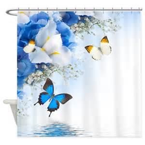 shower curtain flowers flowers and butterflies shower curtain by showercurtainshop