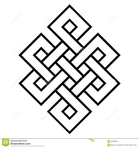 cultural symbol of buddhism endless knot stock vector