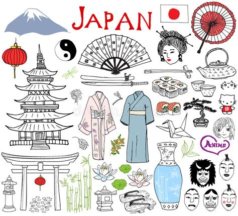doodle japan japan doodles elements sketch set with