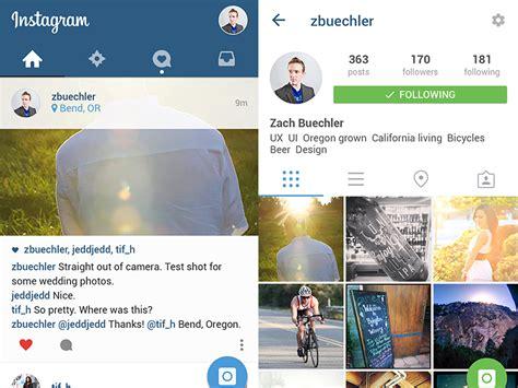 instagram design ideas instagram in material design by zach buechler dribbble