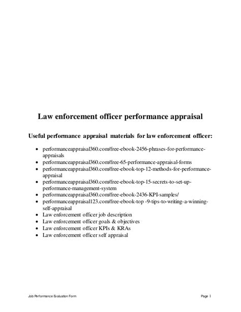 Law Enforcement Officer Performance Appraisal Officer Performance Evaluation Template