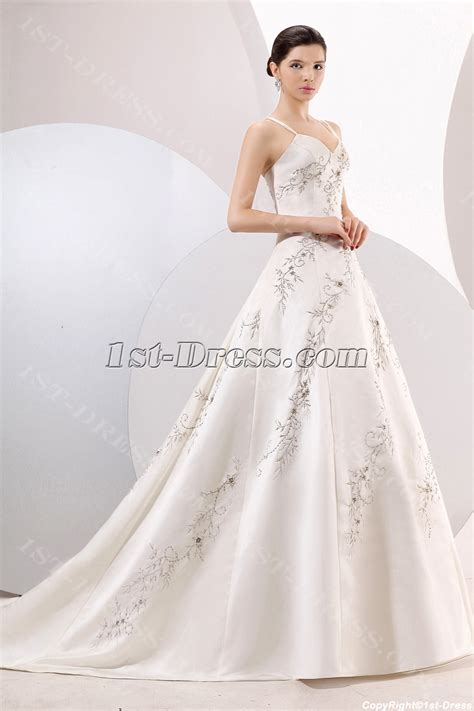 Beautiful Spaghetti Straps Ivory Embroidery Wedding Dresses Online:1st dress.com