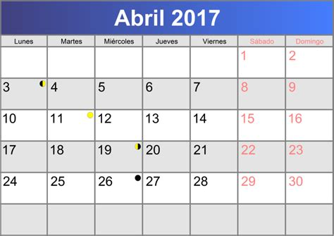 calendario d abril asignacion 2017 calendario abril 2017 imprimible pdf abc calendario es
