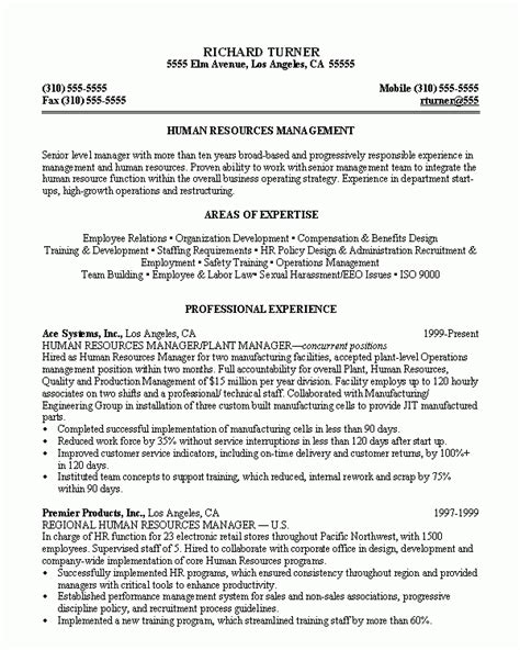 human resources supervisor resume exle resume sle 8 hr manager resume career resumes in resume