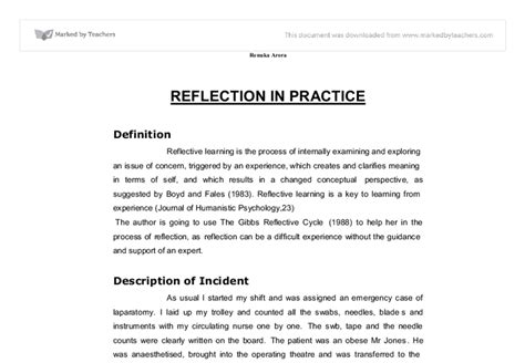 Reflection Essays In Nursing by Reflection Paper Study Based On Gibbs Reflective Model