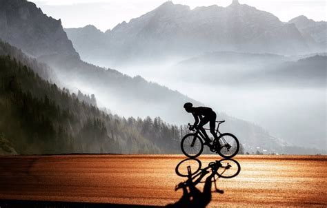 Wallpaper road bike, cyclist, road, nature, mountains