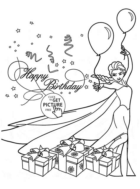 elsa birthday coloring page holiday coloring pages happy birthday card with elsa