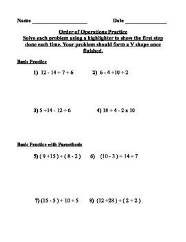 order of operations with exponents and parentheses worksheets pemdas order of operations practice worksheet by math on the fly