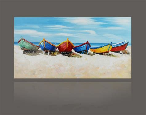 decoration painting discount painted abstract color boat painting on canvas seascape big size modern wall