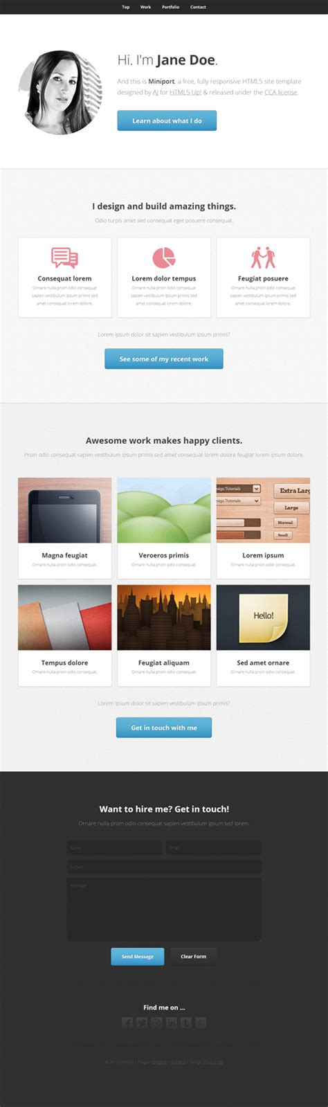 Miniport Free Html5 Css3 Responsive Website Template Html5 Mania Ecommerce Website Templates Free In Html5 Css3
