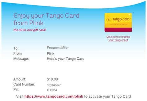 Tango Gift Card Options - a guide to plink rewards frequent miler