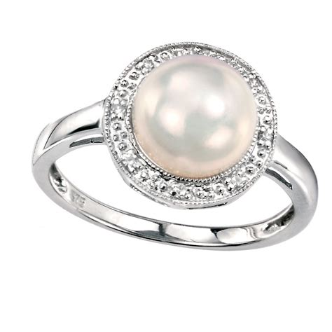 elements gold 9ct white gold pearl ring womens