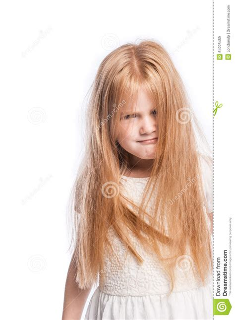 woman with lots hair crazy young girl hiding behind lots of hair stock photo