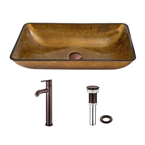 Rubbed Bronze Vessel Faucet by Vigo Rectangular Glass Vessel Sink In Copper And Seville