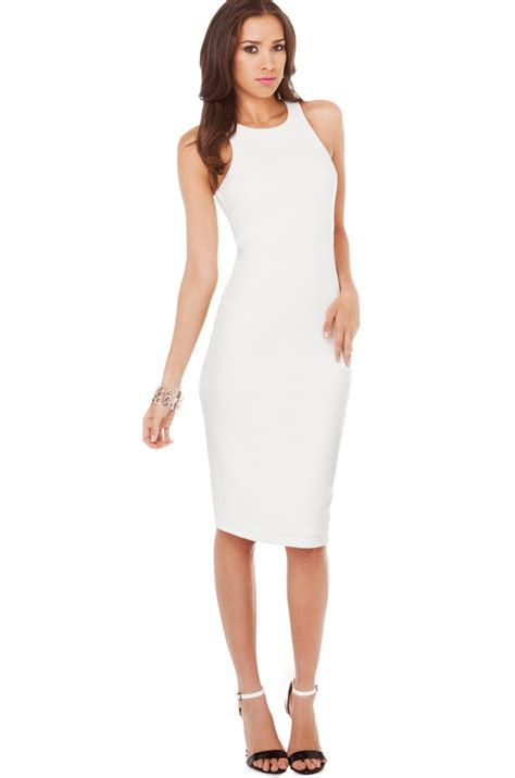 White Dress Pesta Hijabers 1 bodycon midi dress in white in white lyst