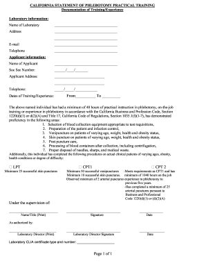 California Statement Of Phlebotomy Practical Training Form