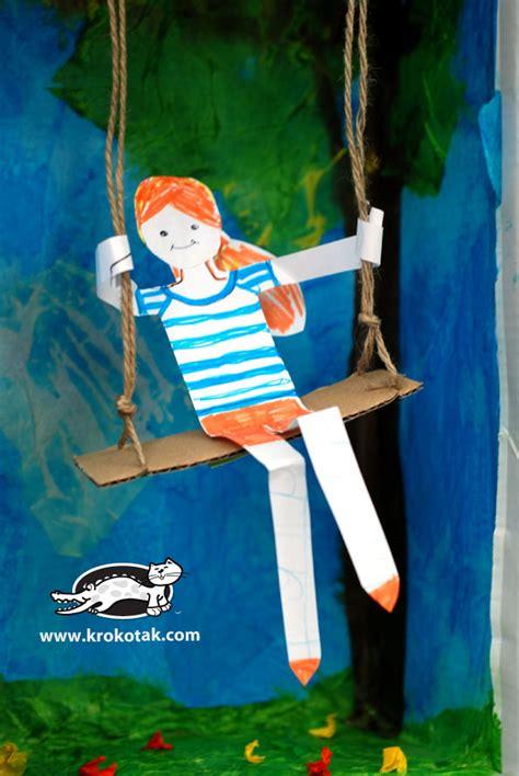swing craft krokotak swing from an empty shoe box