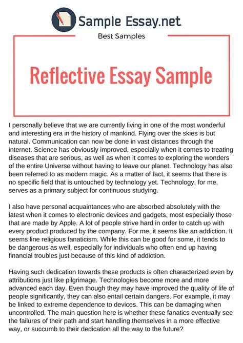 Exles Of Self Reflection Essay by Writing An Impressive Exle Of Reflective Essay Sle Essay