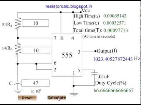 555 timer resistor value calculator 555 timer calculator 555 timer frequency calculator
