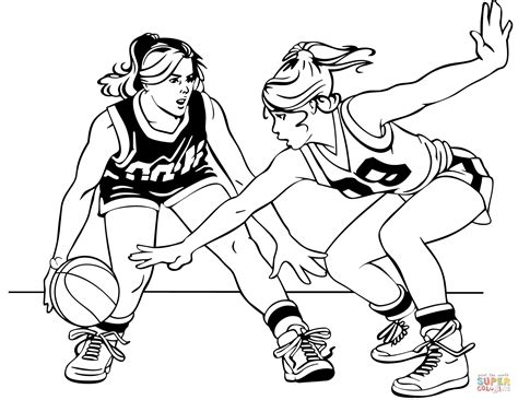 coloring pages of girl basketball players basketball girls coloring page free printable coloring pages