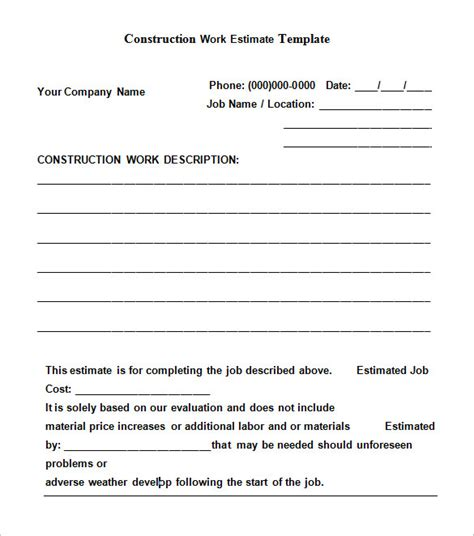 construction estimate templates collections