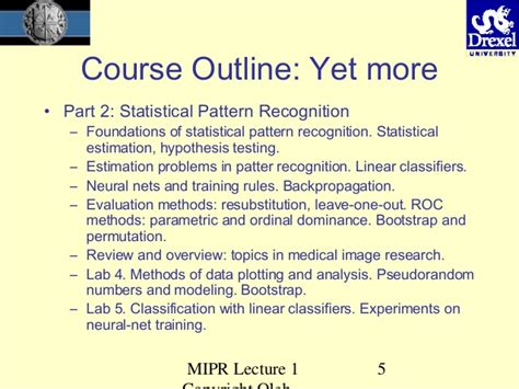 Pattern Recognition Course Outline | medical imaging overview oleh tretiak drexel university