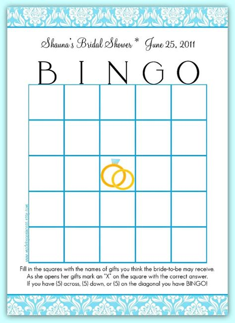 bingo template bridal shower pinterest