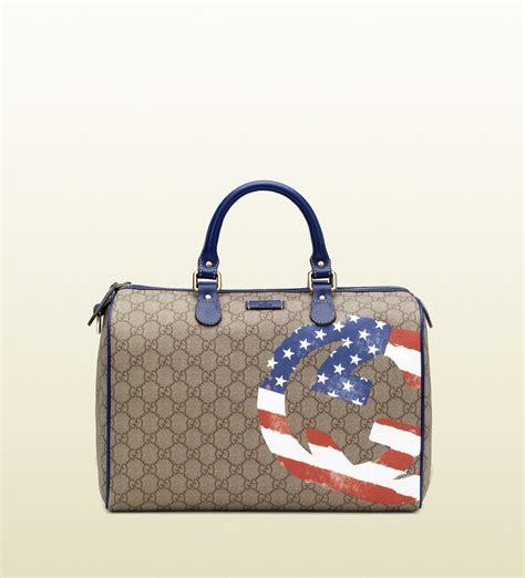 Gucci Boston 2015 Condition Complete Set lyst gucci usa gg flag collection boston bag in