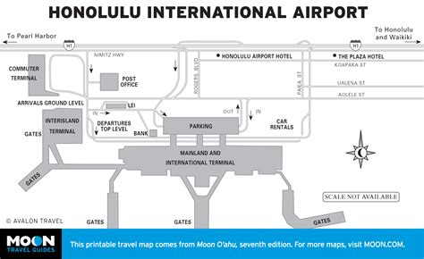 honolulu airport map printable travel maps of o ahu moon travel guides