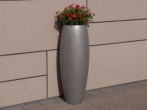 pflanzkübel fiberglas grau pflanzk 252 bel zen 216 37x100cm aus fiberglas in grau metallic
