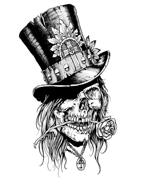 skull with tophat tattoo top hat 2 skulls n sugar skulls