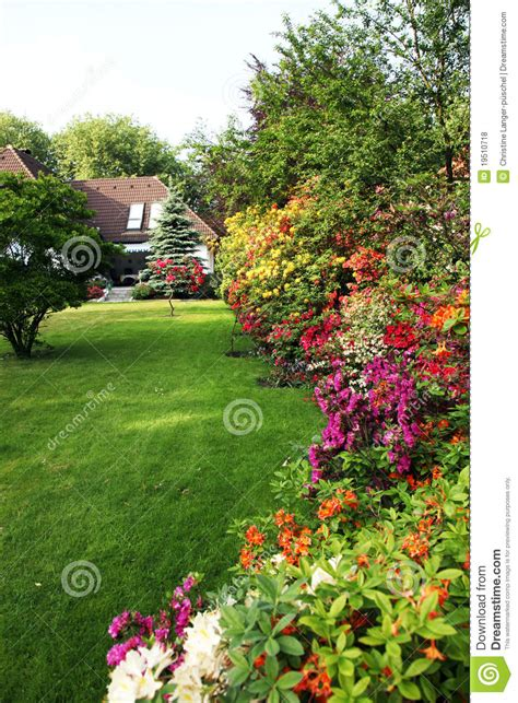 Mountain Style House Plans house with flower garden royalty free stock photos image