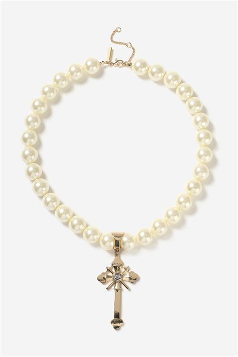 statement pearl cross collar necklace jewelry bags