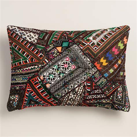Sari Patchwork - black sari patchwork lumbar pillow world market