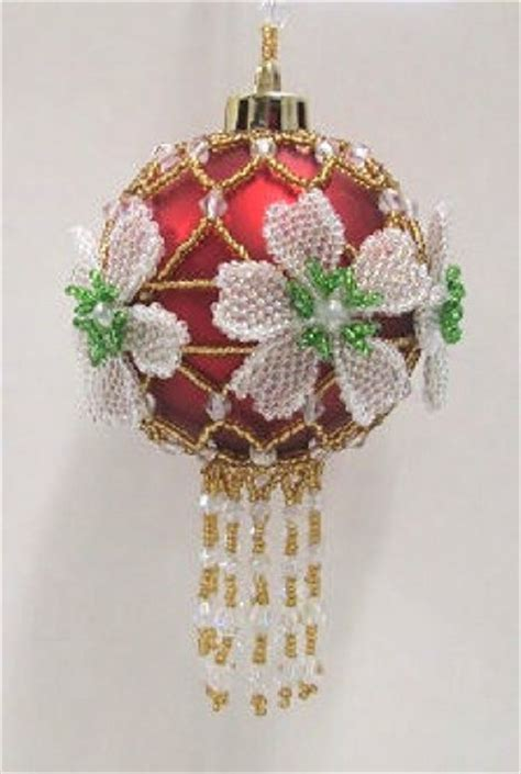 w538 bead pattern only beaded christmas rose ornament