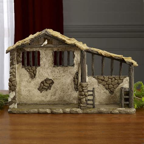 three kings small nativity stable with light 20 quot w