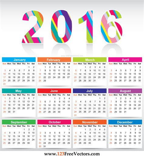 Free Colorful Calendar 2016 Vector Template By 123freevectors On Deviantart Free Templates 2016