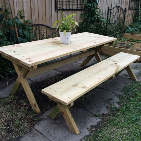 metric version x leg picnic table and bench woodworking