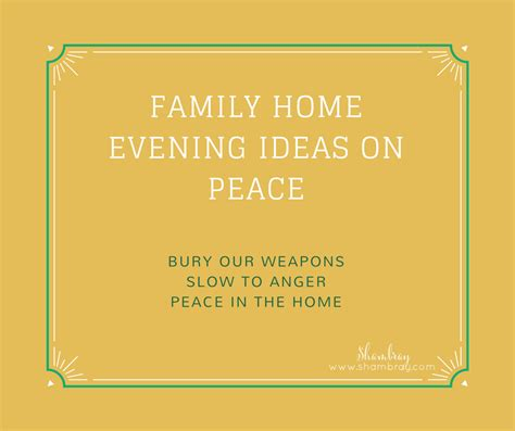 shambray family home evening ideas on peace 4 simple and
