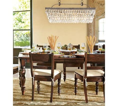 rectangular dining room chandelier the pottery barn s clarissa glass drop rectangular chandelier displayed in the dining