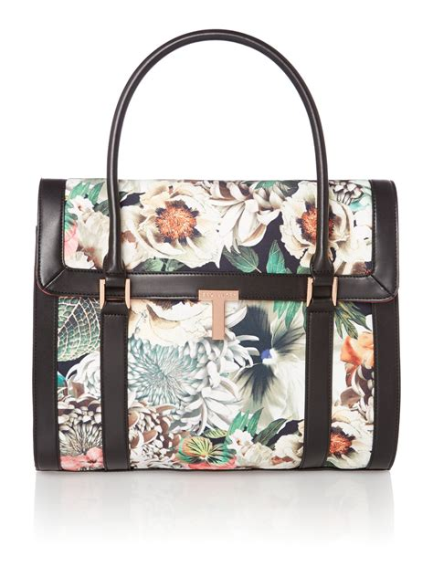 Ted Baker Canvas Printed Tote Bag by Ted Baker Multicoloured Floral Canvas Tote Bag In