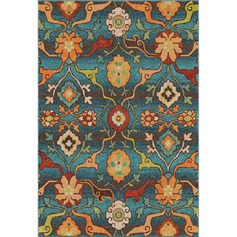 Blue Floral Area Rug Orian Rugs Punjab Blue Floral Bright Colors 5 Ft 3 In X 7 Ft 6 In Indoor Area Rug 354935
