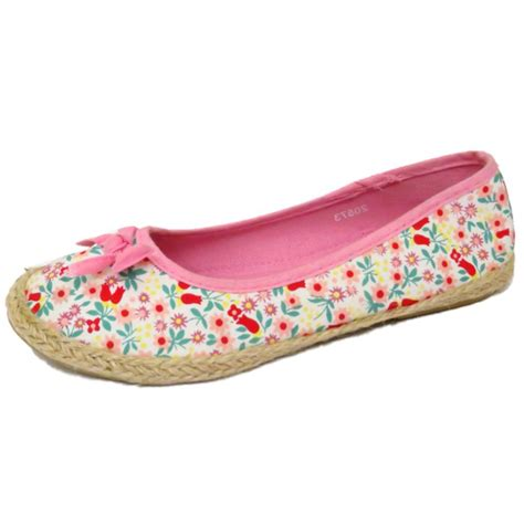 flower flat shoes slip on pink flower floral pumps dolly canvas