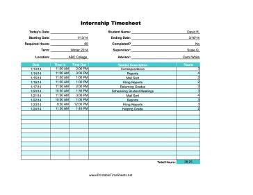internship printable time sheet
