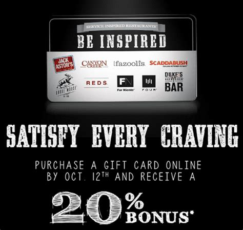 Jack Astor S Gift Card - receive a 20 bonus when you purchase a sir corp restaurant gift card for jack astor