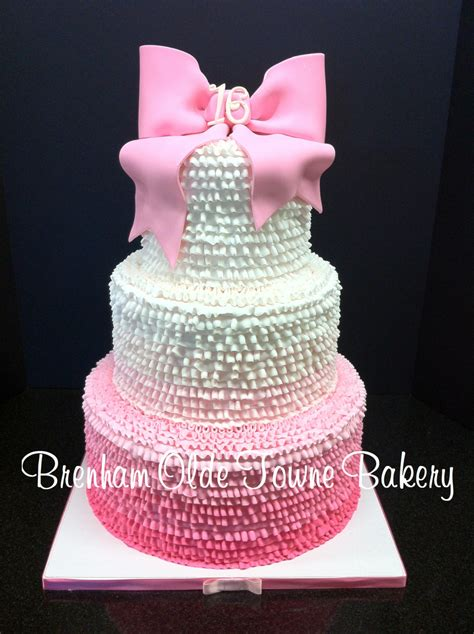 Pink Ombreercream Ruf E Sweet Sixteen Cake Brenham