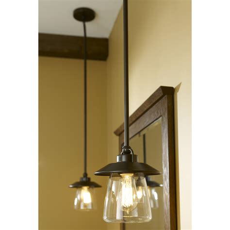 bronze glass pendant light shop allen roth bristow 6 87 in w mission bronze mini