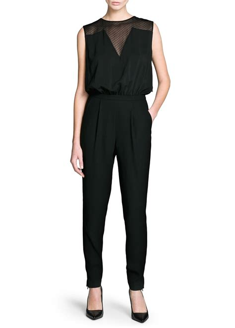 Jumpsuit Smilee Polkadot mango polka dot chiffon panel jumpsuit in black lyst
